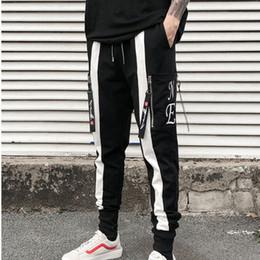 Mens punk hose online-Hochwertige Männer Streetwear Hip Hop Pluderhosen elastische Punk Reißverschlusshose Herren Jogger lässige Jogginghose Pantalon Homme