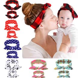 Wholesale rabbit ear hair tie - Mom baby Rabbit Ears Hair Headband Tie Bow Headwear Hoop Stretch Knot Bow Cotton Hair Bands Hair Accessories 120006