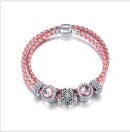 Wholesale Genuine Pandora Bracelets - 925 Sterling Silver Pink Flower Charm Bead fit European Pandora Bracelets for Women Charm Double Layer Genuine Leather Chain Fashion Jewelry