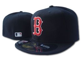 Wholesale red cap white brim - Men's Red Sox black color fitted hat flat Brim embroiered B Letter Team logo fans top quality baseball Hats red sox on field full closed cap