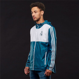 Wholesale Real Clothes Brand - New Brand Mens Soccer Jersey Spring Luxury Designer Real Madrid Soccer Clothing Training Jersey Coat Jackets Casual Sport Windbreak Coat