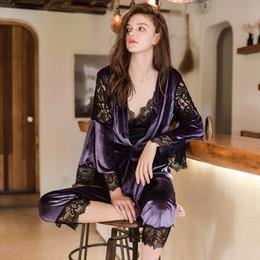 0872ff2a1b 2018 New Winter Women s Lace Spliced Velvet Female Thicken Sleepwear Sexy  Lingerie 3 Piece Pajamas Set Home Clothes Nightwear D18110503