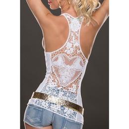 mujeres de ganchillo encaje tanque de espalda Rebajas 2018 Moda de verano Camiseta sin mangas de encaje Sexy tops de encaje Crochet Back Hollow-out mujer Chaleco camisola de encaje Negro Blanco Chaleco Playa