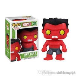 caixa de brinquedos hulk Desconto Chegada nova Funko Pop Marvel Comics Vingadores Red Hulk Bobble Cabeça Figura de Ação de Vinil com Caixa # 209 Brinquedo Presente