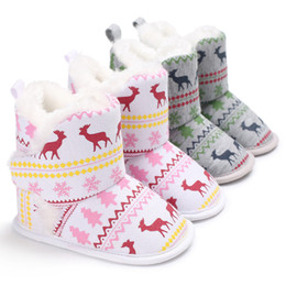 bd8e1157296 Newborn Baby Boots Unisex Christmas Elk Baby Soft Sole Snow Boots Soft Crib Shoes  Toddler Kids Winter Shoes 9.13