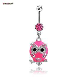 Wholesale Owl Pendant Pink - Starbeauty Pink Owl Navel Piercing Ombligo Women Belly Piercing Nombril Owl Pendant Belly Button Rings Pircing Belly Dance Acc.