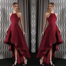 Dubaï arabe nouvelle arrivée rouge foncé salut-Lo robes de bal licol complet en dentelle une ligne plis formelle robes de soirée robe de soirée personnalisé ? partir de fabricateur
