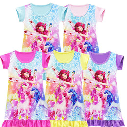 Wholesale halloween pajamas - Girls mia and me Unicorn princess dress 2018 New Children cartoon short sleeves Pajamas dresses Kids clothes 5 Color LC814