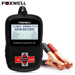 2019 gm 46 chip FOXWELL BT100 12V Auto Car Battery Tester 1100CCA Analizador de batería automotriz Multi idiomas BAD Cell Test Battery Tester OBD
