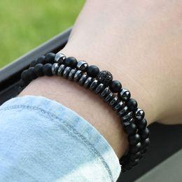 Micro perles de 6 mm en Ligne-2pc / ensembles 6mm perles Pierre Naturelle Bracelets pour les femmes Micro Pave CZ Ball Charms Bracelet Hommes bijoux pulseras mujer