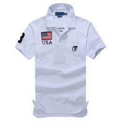 Camisas de hombre de tamaño pequeño online-Bandera Nacional de la manga pequeño caballo de polo sólido nueva camisa corta de verano de algodón para hombres Camisa para mujer Tamaño Azul marino