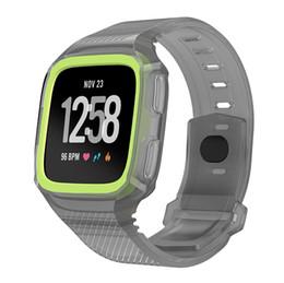 fitbit cobre Desconto Faixa de esporte de silicone + capa protetora para Fitbit Watch Band para Versa Wrist Band pulseira pulseira de borracha com capa protetora