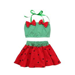 toddler beach set Promo Codes - Girls striped halterneck beach clothing 2pc sets green stripe bow tube top+dots flower skirt 1-5T baby toddlers cute watermelon beach cloth