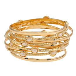 Elegante perle gesetzt armbänder online-9 teile / satz Einfache Mode Elegante Perlen Legierung Armreifen Dame Party Manschette Armband für Frauen Armband