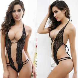 Canada Lingerie Sexy Hot Erotic Lace Col V Profond Teddy Sous-Vêtements Body Femmes Spaghetti Strap Lingerie Lenceria Sexy Costume supplier erotic teddy lingerie Offre