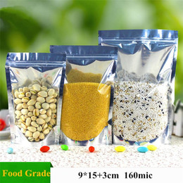 Wholesale Small Foil Bags - 9*15+3cm Small Half Clear Aluminum Foil Ziplock Bag Stand Up Food Packaging Bags Self Seal Snack Dried Fruit Nuts Storage Bag