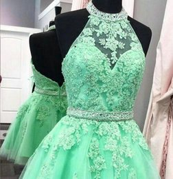 Wholesale Hung Back Dress - Prom Green Short Party Dresses Tulle Applique Hang a neck style Short Bridesmaid Dresses Bridesmaid Dresses DK042