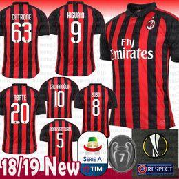 FC AC Milan Soccer Jersey 2018 8 SUSO 5 BONAENTURA 20 ABATE 9 HIGUAIN CALHANOGLU  Cutrone KALINIC ROMAGNOLI ROMAGNOLI C.ZAPATA Football Shirt 3558228e5