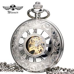 Лучшие часы механического скелета онлайн-WINNER Classic Fashion Unisex Watches Mechanical Pocket Watch Carved Lid Pendant Chain Skeleton Dial Roman Numerals Best Gift