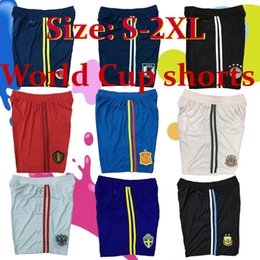 Wholesale Russia Soccer - 2018 World Cup home adult shorts Russia Sweden Belgium Argentina shorts Spain 18 19 thai quality blue white Soccer football shorts pants