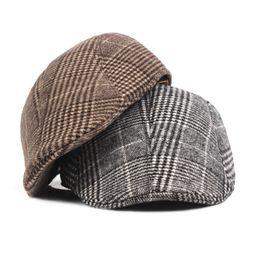 Wholesale Church Beret Hats For Women - Fashion Wool Plaid Beret Hats for Men Women Unisex Vintage Houndstooth Outdoors Flat Cap for Cowboy