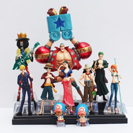 Wholesale Luffy Pvc - 10pcs set Free Shipping Japanese Anime One Piece Action Figure Collection 2 YEARS LATER luffy nami roronoa zoro hand-done dolls