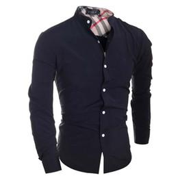 Wholesale Hommes Chemise Marque Camisa Masculina Mâle Haute Qualité À Manches Longues Chemises Casual Hit Couleur Slim Fit Noir Homme Chemises
