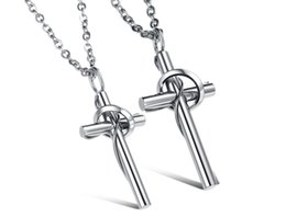 Wholesale Cross Couple Necklaces - 2018 new fashion Korean jewelry wholesale jewelry lingering love cross couple necklace with pure titanium steel chain