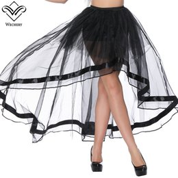 Wholesale corset transparent - Wechery Women Long Corset Skirt 2018 New Style Sexy Tulle Skirts for Women Sexy Transparent High Low Mesh Quality Party Skirt