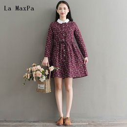 085c61f75948 Spring New Japan Fashion Mori Girl Dress 2018 Literary Vintage Flower Print  Long Sleeve A-line Cotton Linen Shirt Dress Vestido