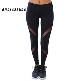Wholesale wholesale black leggings designs - Chrleisure Sexy Women Leggings Gothic Insert Mesh Design Trousers Pants Big Size Black Capris Sportswear New Fitness Leggings