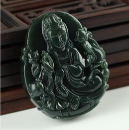 Wholesale large pendants connectors - Natural hetian jade QINGYU large lotus Guanyin pendant men's jade accessories