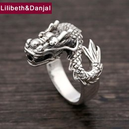 Wholesale Sterling Dragon Ring - whole sale2017 New Women Men Ring 100% Real 925 sterling silver Vintage Ethnic Dragon Ring LOVE Christmas gift fashion ladies jewelry FR12