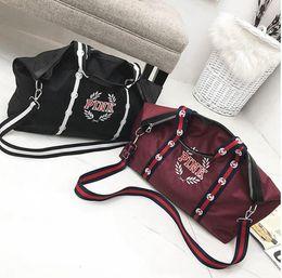 Wholesale pink striped bedding - Pink Letter Handbags Shoulder Bags Love Pink Handbags Large Capacity Travel Duffle Striped Waterproof Beach Shoulder Bag 2 Colors OOA4436