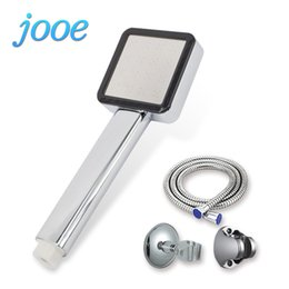 Wholesale Pressure Faucet - jooe High Pressure Water Saving Handheld Shower Heads Square nickle Plated ABS Bath Spray chuveiro Bathroom Accessories je12
