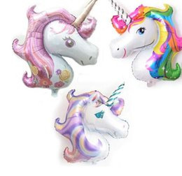 Wholesale Unicorn Balloon - Big Rainbow Unicorn Balloons Party Supplies Foil Balloons Kids Cartoon Animal Horse Birthday Party Decoration Unicorn Balloon KKA3986
