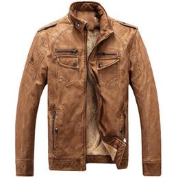 Argentina Chaquetas de cuero de lana polar de invierno Hombres Pu Chaqueta de cuero de la motocicleta Escudo de abrigos casuales de hombre Collar de pie más el tamaño 3XL Suministro