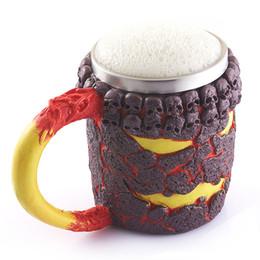Wholesale Rock Stocks - 450ml Double Wall Bottle Stainless Steel 3D Skull Mugs Coffee Tea Water Bottle Rock Magma Devil Monster Halloween Drinking Cups Milk
