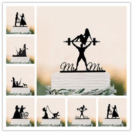 bolos de casamento engraçados Desconto Misturado Engraçado Estilo Bolo De Casamento Topper Noiva Noivo Bolo Topper MR Sra. Preto Acrílico Decoração