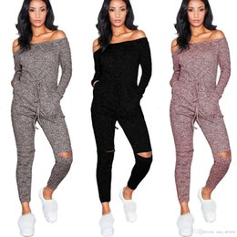 6c0cb4652298 fitted jumpsuits rompers Canada - S-XXL New Hot Selling Rompers Women  Jumpsuit Off Shoulder