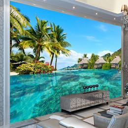 Пользовательские 3D фото обои HD Мальдивы морской пляж природный пейзаж фотографии гостиная телевизор фон настенная живопись настенная роспись cheap paint background photography от Поставщики краска