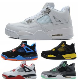 Wholesale Black Mesh Stockings - In stock Basketball Shoes men 4s Pure Money Royalty White Cement Premium Black Bred Fire Red mens Sports Sneakers size 8-13 xz94