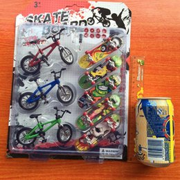 Wholesale Scooter Mini - 8PCS Set Mini Fingerboard finger skateboard and bmx bike toy for children kids skate boards scooter FSB fun Novelty bicycle gift