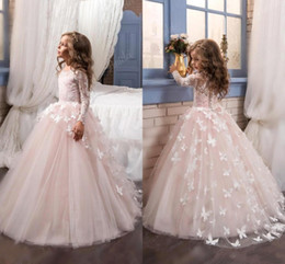 Wholesale silver flower girls dresses - Lovely 2018 New Arrival Lace Flower Girl's Dresses Long Illusion Sleeves Jewel Neck Ball Gown Handmade Butterflies Girl's Pageant Dresses