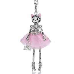 Fiore notizie online-Cute Doll Collana Cat Crystal Dress Fiore lunga catena Lega Doll Pendant Gioielli di moda per le donne 2018 Notizie Accessori