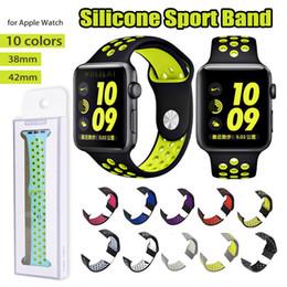 резиновые браслеты Скидка 42мм 38мм Резиновые Силиконовые Отверстия Петли Запястье для Apple Watch Ремешок Ремешки Спортивный Браслет для Apple iWatch серии 1 2 3 с pakcage