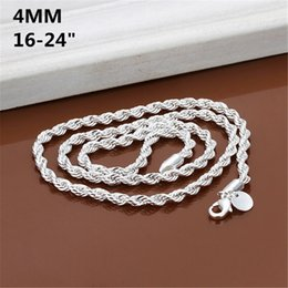 Wholesale Flashing Necklace Christmas - 16-24inch wholesale price Silver Plated 4MM Rope men women Flash twisted chain cute nice Valentine gift fashion wedding necklace jewelry