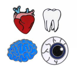 Wholesale Clothes For Girl China - Fashion Cute Cartoon Brooch Pins The Human Organs Medical Brain Eye Heart Enamel Lapel Pins Badge for Women Girls Clothing Bag