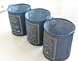 Wholesale Cloth Laundry Baskets - 1PC Cotton Cloth Buckets Opening Dirty Clothes Storage baskets boxes containers laundry Basket Storage Bucket Home Decoration