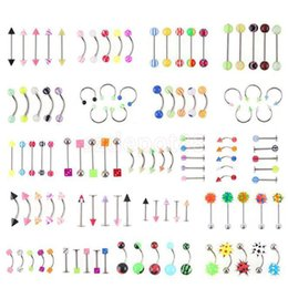 Wholesale barbell navel rings - 110pcs  Lot Mixed Style Body Piercing Fashion Jewelry Eyebrow Navel Belly Tongue Lip Barbell Ring